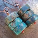 Natural turquoise earrings, turquoi..