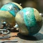 Earrings copper and turquoise glass..