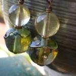 Earrings Natural Citrine and artisa..