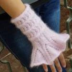 Victorian Cuffs hand knitted pink r..