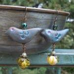 Blue Birds and Pumpkins earrings, h..
