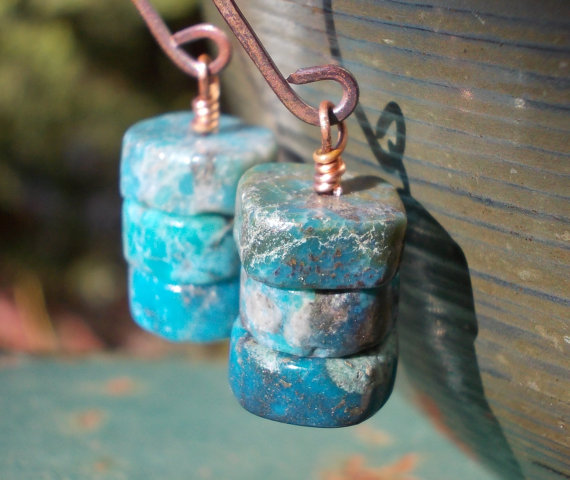 Natural turquoise earrings, turquoise and copper earrings, gemstones on handforged rosey copper earrings