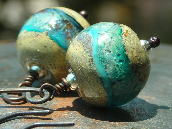 Earrings copper and turquoise glass Cascade handmade artist lampwork beads on handforged oxidized copper river rocks water blue earrings