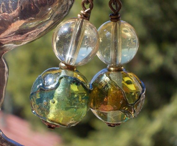 Earrings Natural Citrine and artisan lampwork glass beads aqua ocean blue sea bottle green semi precious gemstone brass, recycled glass like