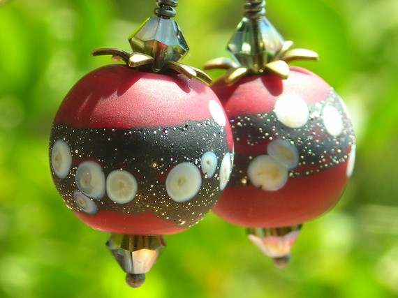 Cherry Earrings, handmade artist lampwork beads wine red black oxidized sterling silver, earrings, berry fruit, brass petals, crystals