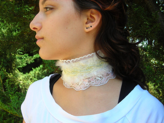 Softness Victorian Feather Collar garter gothic steampunk romantic bridal choker necktie white soft pink yellow wedding bride
