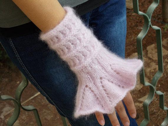 Victorian Cuffs hand knitted pink ruffled romantic arm wrist warmer cozy gauntlets lace wristwarmer fingerless gloves mitts