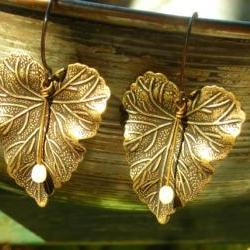 Antiqued Brass Leaf Earrings, Pearl And Leaves, Oxidized Brass Leaves And  Fresh Water Pearls, Vintage Finish Earrings Inspired By Nature