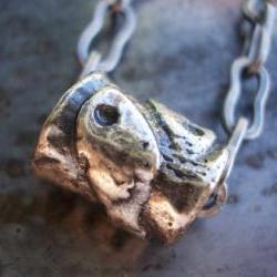 Pisces necklace, antiqued silver large hole bead on chain, metal fish focal pendant charm, unisex boy men woman peace friendship symbol