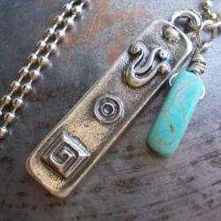 Mezuzah charm necklace, antiqued silver Judaica pendant with turquoise stone, unisex Jewish symbol amulet talisman