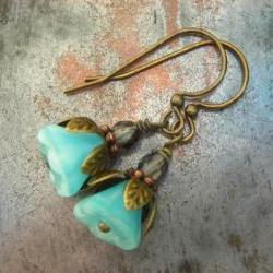 The Cutest Baby Blue Flower Earrings, Czech glass, fire polished beads, antiqued brass and copper petals, delicate floral earrings