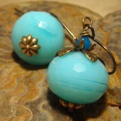 Larimar Blue Earrings, quartz and brass earrings, aquamarine blue quartz Sky Blue Caribbean blue pumpkins