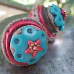 Ethnic, large dangle earrings, handmade artist polymer clay beads, copper and brass, colorful turquoise blue, red, huge