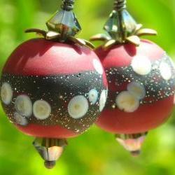 Cherry Earrings, handmade artist lampwork beads wine red black oxidized sterling silver, earrings, berry fruit, brass petals, crystals
