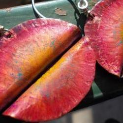 Copper and sterling silver earrings Organic Leaves Handforged fold formed colored copper leaf, the primitive line, ancient metal art
