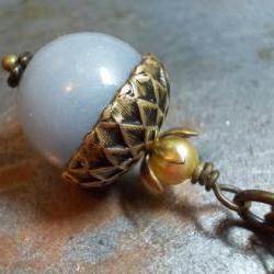 Angel blue acorn necklace beaded oxidized antiqued brass and natural angelite gemstone bead nature inspired vintage chic jewelry
